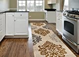 Transitional Damask Soft Yellow 2′ x 7'2″ Area Rug Runner