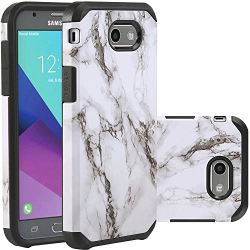Samsung Galaxy J3 Emerge Case Black and White Marble,J3 Prime/J3 2017/Amp Prime 2/Express Prime 2/Sol 2/J3 Luna Pro/J3 Eclipse/J3 Mission Case,LUHOURI Hybrid Rugged Defender Protective