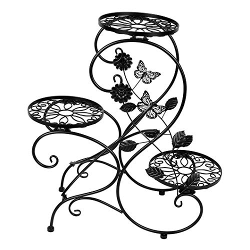 """Funmall 3-Tiered Plant and Flower Stand Plant Flower Pot Rack with Modern S"""" Design (Black)"""