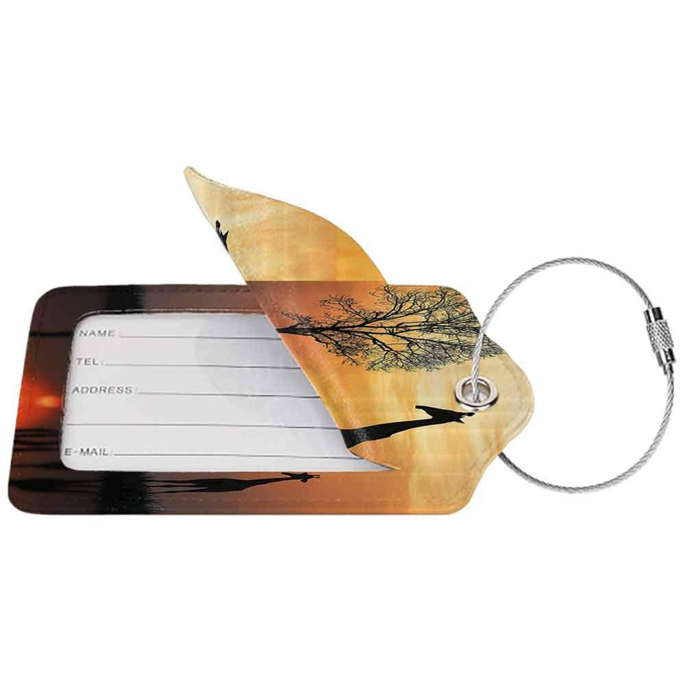 Small luggage tag Wildlife Decor Giraffes on Bushes by Lake Surface Horizon in the Middle of Nowhere Image Quickly find the suitcase Orange Black W2.7 x L4.6