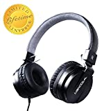 Active Noise Cancelling Headphones with Microphone/Controller, Monodeal Lightweight Wired Headset On Ear, Deep Bass Foldable Travel Earphone with Carrying Bag, 20 Hours Playtime - Black