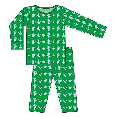 Kickee Pants Little Boys Custom Print Long Sleeve Pajama Set - Dino Tracks with Fern, 6 Years