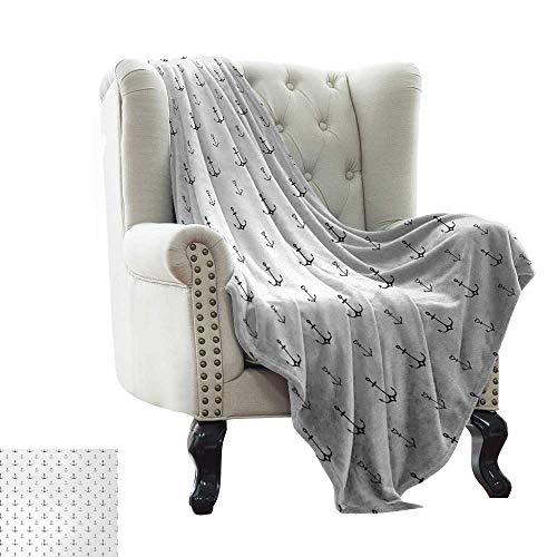 Davishouse Living Room/Bedroom Warm Blanket Hand Drawn Nautical Pattern with Heart Motifs Line Art Arrangement Retro Sketch Traveling,Hiking,Camping,Full Queen,TV,Cabin 36