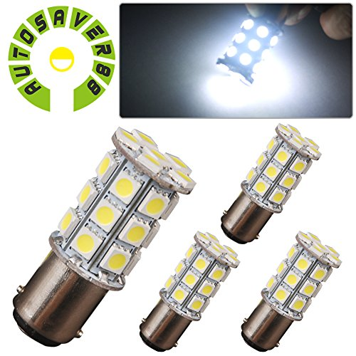 AUTOSAVER88 4X BA15D 5050 27SMD For Boat Marine RV Car LED Light Bulb 1142 1076 Xenon White 6000K