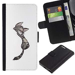 A-type (Cute Cat Kitten Minimalist Gay Drawing) Colorida Impresión Funda Cuero Monedero Caja Bolsa Cubierta Caja Piel Card Slots Para Apple (5.5 inches!!!) iPhone 6+ Plus / 6S+ Plus