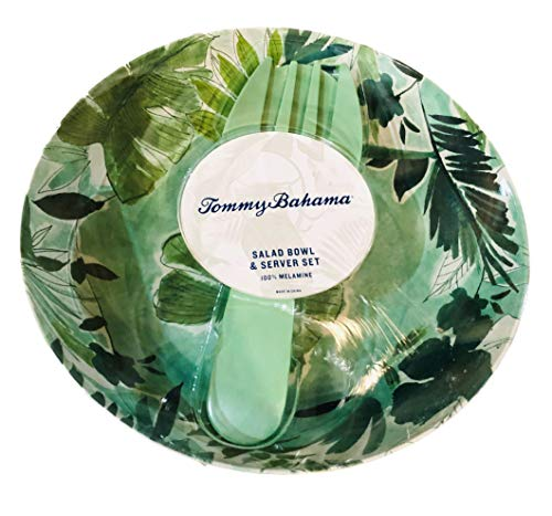 Tommy Bahama Tropical Leaves Melamine Salad Bowl and Server Set