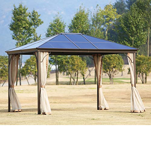 SUNCROWN Outdoor Garden Gazebo 12' x 10' Patios Gazebo Canopy Permanent Aluminum Hardtop Mosquito Netting (Beige) | Front Porch, Sand ()