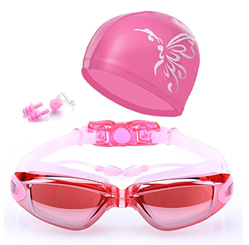 (QainYiDa Swimming Goggles Set Swimming Cap, Watertight Comfortable Anti-UV Shatter-Proof Adjustable Complete Accessory Swim hat+Earplug+ Nose Clip+Protective Box-Pink)