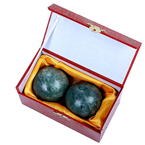 blackish green jade baoding health stress exercise balls chinese exercise stress balls craft collection (box-packed)