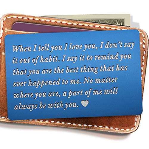Engraved Wallet Inserts, Metal Wallet Card, Mini Love Note Message, Deployment Gift for Him, Perfect Anniversary Gifts for Men, Boyfriend, Husband Gifts from Wife -