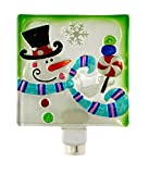 Peppermint Snowman Square 5 x 6 Inch Glass Wall Plug-In Christmas Night Light