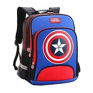 Lonme Kids' Backpacks Captain America Children Primary Schoolbag School Bags Teenager Student Backpack Dayback Waterproof, Sky Blue (Sky Blue) - 6999508666396