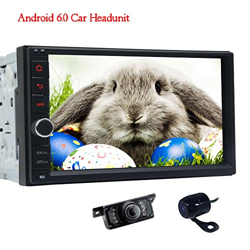 Front Camera & Rear view Camera included! Double 2 din Android 6.0 Car Stereo System in Dash Autoradio Bluetooth 1080P Video Audio Car AM/FM/RDS Radio BT SWC Screen Mirroring (No DVD Player) (Rds Radio Fm)