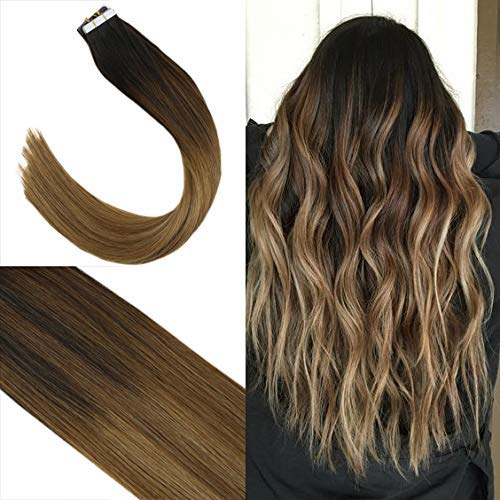 Youngsee 16inch Remy Tape in Extensions Human Hair Darkest Brown to Medium Brown Mixed Caramel Blonde Balayage Ombre Real Human Hair Tape Extensions 20pcs 50G (Medium Length Brown Hair With Caramel Highlights)