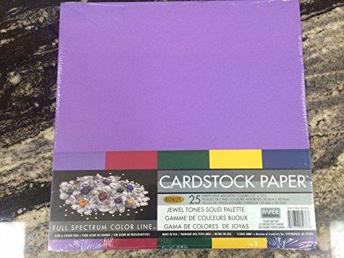 12x12 Jewel Tones Solid Purple Maroon Green Yellow Blue Cardstock Paper Pack, 25 Sheets 67# lb.