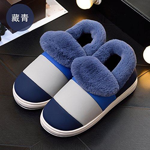 Cotone habuji pantofole donne spessa alla fine dell'inverno carino indoor e outdoor sacchetto impermeabile con caldo caldo cotone stivali uomini, 42-43, blu scuro