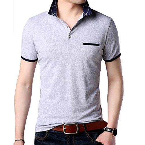 (habille)メンズ シンプル ポロシャツ POLO チェック 襟 父の日 プレゼント ゴルフ ウェア 半袖 夏 上品 ゆったり 大きいサイズ おまけ付(3XL/グレー)