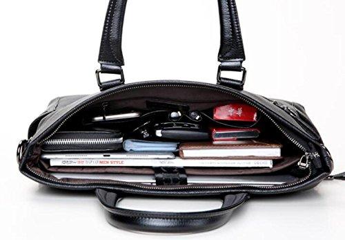 RENHONG Männer Retro-Mode Aus Echtem Leder Schwarz Aktentasche Schultertasche Umhängetasche Business Casual Office College Bag Black ahoFuYnI