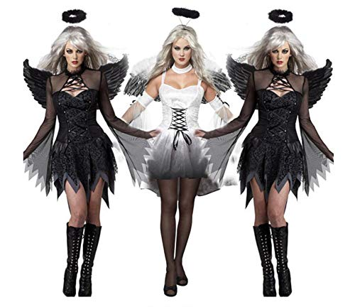 QIONGQIONG Halloween Dark Angel Dress Costumes Uniform Game Zombie Dress Female Ghost Bride Devil Pack White/Black ()