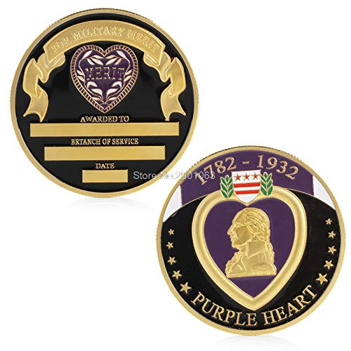 Coin Souvenir - Military Merit Purple Heart Commemorative Challenge Coin Collectible Physical Shipping - Coins Military Coin Collectibles Currency Coins Army Coin Military Love Guangxu Silve