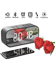 TECHVIDA Digital Alarm Clock Bluetooth Speaker, Stereo Wireless Portable Speaker Bluetooth 5.0 Built-in Microphone Alarm Clock, 3.5mm AUX/Micro SD/TF/USB Input, Ideal Travel, Mirror Screen (Black)