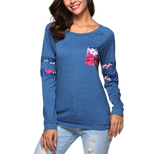 Blu Girocollo Taschino Shirt Yefree Cucitura con da Donna T Top Colore a q11OtBPx