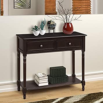M W Rustic Wood Console Table with 2 Drawer, Sofa Table for Entryway, Hallway and Living Room, Espresso Finish