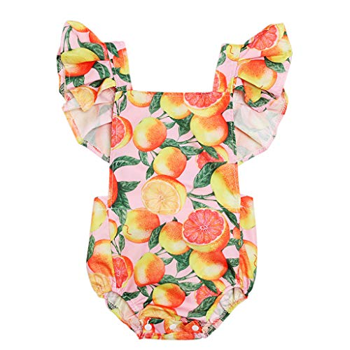 pollyhb Baby Romper, Kids Flying Sleeve Ruffled Grapefruit Lemon Print Romper Jumpsuit in Cool Summer ()