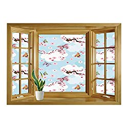 SCOCICI Wall Mural, Window Frame Mural/Japanese,Spring Flower with Birds and Butterflies Freshening Sublime Sky Scenery Charm Print,Pink Blue/Wall Sticker Mural
