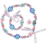 SmitCo LLC Kids Jewelry - For Little Girls and Toddlers - Blue and Pink Stretch Necklace and Bracelet Set - Great Costume Jewelry and Accessories Sets For Children To Play Pretend and Dress Up