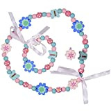 SMITCO Kids Jewelry - for Little Girls and Toddlers - Blue and Pink Stretch Necklace and Bracelet Set - Great Costume Jewelry and Accessories Sets for Children to Play Pretend and Dress Up