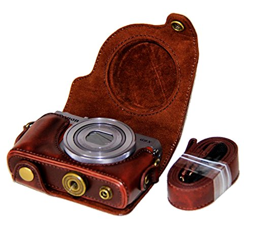 CEARI Detachable Camera Leather Case Protective Bag for Canon PowerShot G9X + MicroFiber Clean Cloth - Coffee