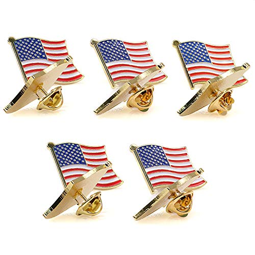 - American Flag Pin -The Stars and Stripes -Solid Metal Flag Lapel Pin-Exquisite Gold Toned US Flag Pin(10 Pack Waved)