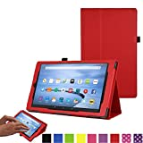 TECHGEAR All New Amazon Fire 7 Case, Amazon Fire 7' Alexa Tablet Leather Folio Case Cover with Viewing/Typing Stand [RED] - for 2017 released Amazon Fire 7' tablets