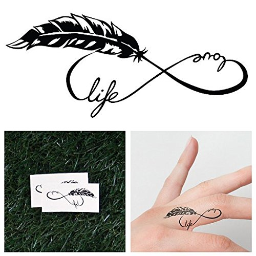 Treehugger Costume (Tattify Feather Infinity Symbol Temporary Tattoo - Tree Hugger (Set of 2) - Other Styles Available and Fashionable Temporary Tattoos)