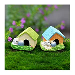 Stream en miniatura perro House casa de muñecas Bonsai Paisaje Jardín de hadas decoración adorno