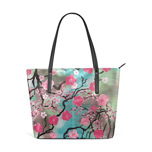 Tote Handbags,DEYYA Abstract Art Tree Plum Hand Painted PU Leather Purses and Handbags for Women -