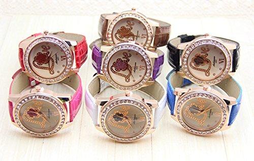 New Diamonded Gold Love Leather Women Ladies Quartz Dress Watches Purple