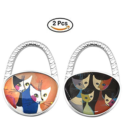Price comparison product image GuaziV Theme Designed Foldable Purse Handbag Hook Table Hanger(Cartoon cats) (Mix 2)