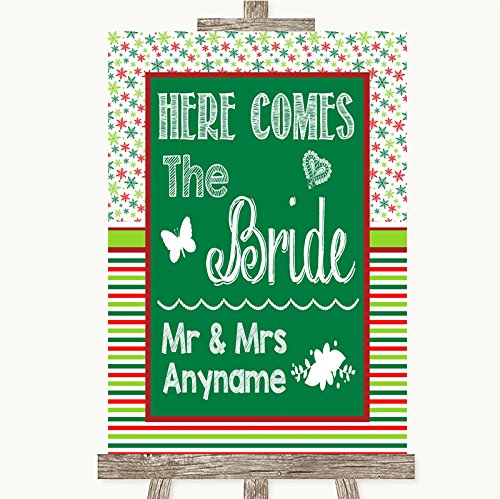 Red & Green Winter Here Comes Bride Aisle Sign Personalized Wedding Sign