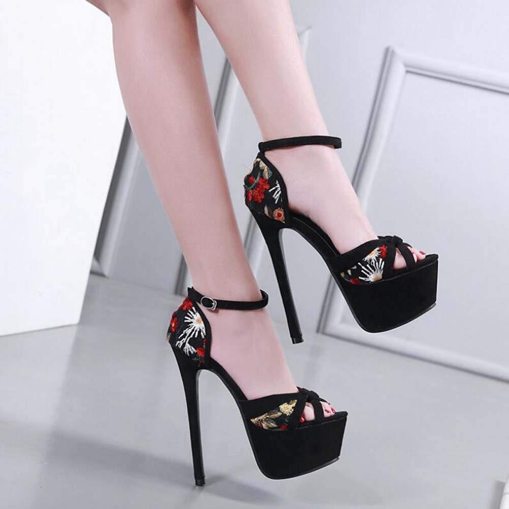 Mamrar Heel Bestickte Ankle Straps High Heel Mamrar Sandals Frauen Fashion Peep Toe D ' Orsay 17cm Stiletto OL Party Dress Schuhe Eu Größe 34-40 a34fe2