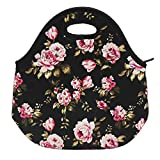 Flowers Neoprene Lunch Bag Insulated Lunch Box Tote for Women Men Adult Kids Teens Boys Teenage Girls Toddler, Black