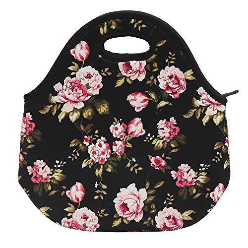 (Flowers Neoprene Lunch Bag Insulated Lunch Box Tote for Women Men Adult Kids Teens Boys Teenage Girls Toddler, Black)