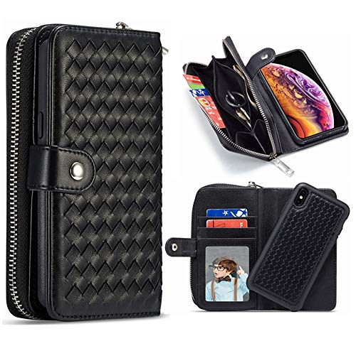 iPhone Xs MAX Detachable Wallet Case,Hynice Leather Zipper Purse for Women Magnetic Removable Silm Cover with Strap Credit Holder Cash Pocket for iPhone Xs MAX 6.5 (Weave-Black, iPhone Xs Max)