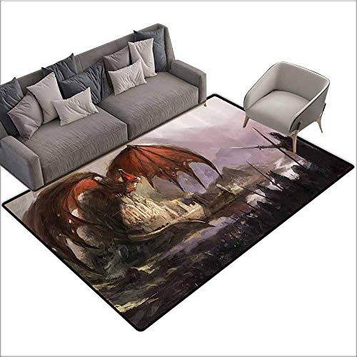 Front Mat Home Decorative Carpet Colorful Dragon Decor Collection,Medieval Fantasy Theme Dragon and Dark Knights in Battle Scene with Fortress Castle,Grey Rustic Red 36