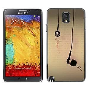 Caucho caso de Shell duro de la cubierta de accesorios de protección BY RAYDREAMMM - Samsung Galaxy Note 3 N9000 N9002 N9005 - Ear Plugs Music Love Art Drawing Illustration
