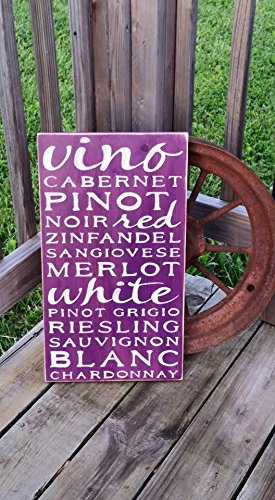 Chardonnay Pinot (Rustic Wine Sign - Wooden Distressed Wine Sign - Red Wine Kitchen Typography Subway Art Cabernet Vino Noir Merlot Chardonnay Pinot Rieslingt - Sign for Kitchen - Gift for Her)