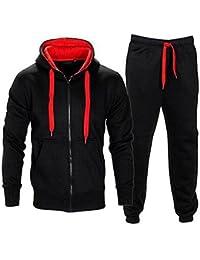 Men s Gym Contrast Jogging Full Tracksuit Hoodies Fleece Joggers Set c4515e948