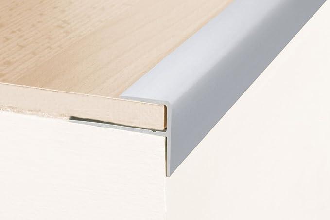 Perfil de escalera / Perfil angular / Mamperlán (parquet / laminado) 180 cm, con 8 mm de elevación, 23 x 16 mm, aluminio anodizado - color: plateado: Amazon.es: Hogar
