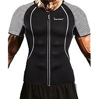 Junlan Men Weight Loss Shirt Workout Neoprene Top Training Body Shaper Clothes Sweat Sauna Suit Exercise Fitness Short Sleeve